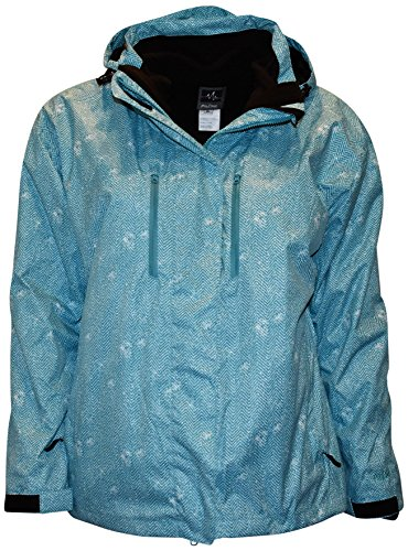 Pulse Women's Plus Extended Size 3in1 Boundary Snow Ski Jacket Coat (3X (24), Teal Zig)