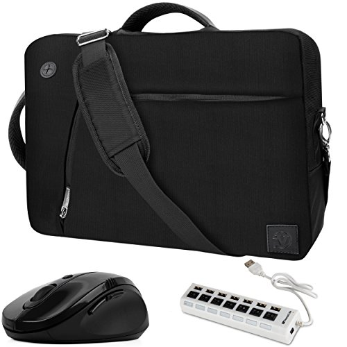 Price comparison product image VanGoddy 3-in-1 Hybrid 17.3inch Black Laptop Bag w/ 7-Port USB Hub and Mouse Fit for MSI Raider / Mobile Workstation / X Leopard / Apache Pro / Stealth Pro / Prestige