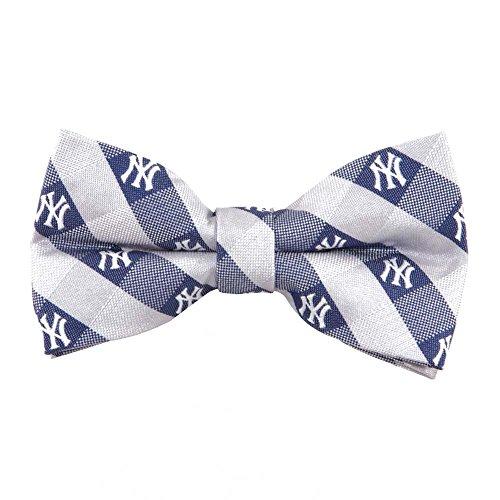 (New York Yankees Checked Logo Bow Tie - MLB Baseball Team Logo)