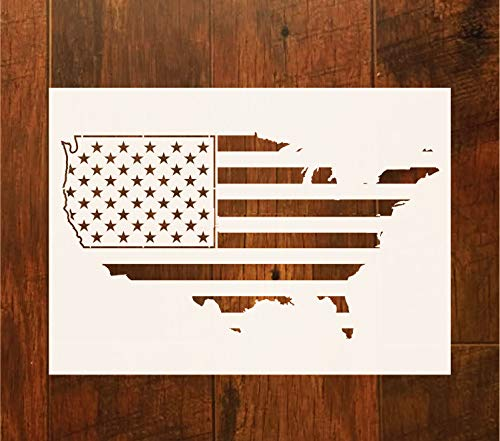 OBUY Large American Flag map Stencil for Painting on Wood, Fabric, Walls, Airbrush + More | Reusable 10.5 x 14.82 inch Mylar Template by OBUY
