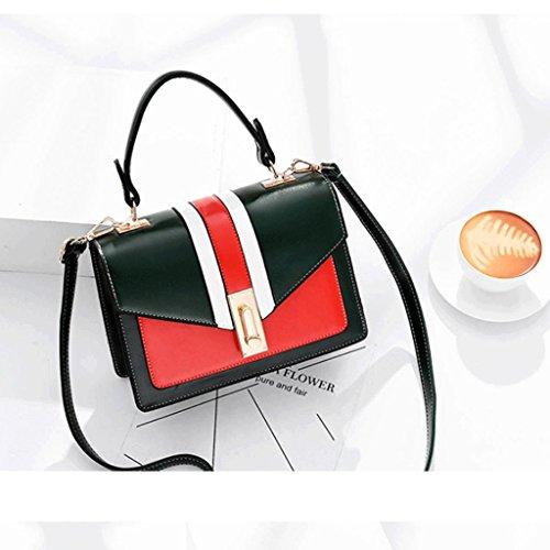 ZHYW Bolso de hombro de la Sra. Bag Messenger Bag Bolso de color pequeño con contraste (Color : Blanco) Verde