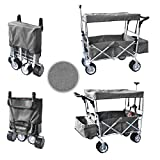 quest canopies - GREY FREE ICE COOLER PUSH AND PULL HANDLE FOLDING BABY STROLLER WAGON OUTDOOR SPORT COLLAPSIBLE KIDS TROLLEY W/ CANOPY GARDEN UTILITY SHOPPING TRAVEL BEACH CART - EASY SETUP NO TOOL NECESSARY