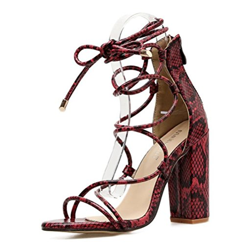 Party PU Ladies LINYI Wedding High Pattern Heel Sandals Dinner Cross Brown Chunky Heel Womens Straps Artificial OwaqF1