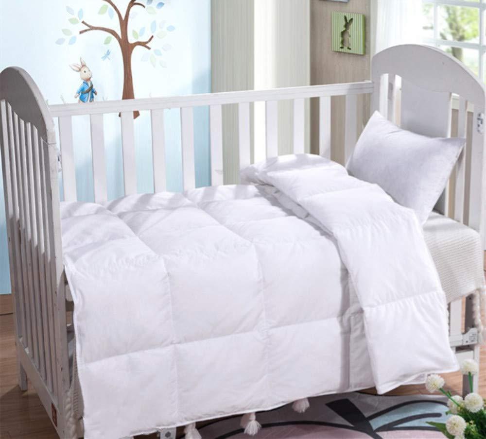Lightweight Summer Baby/Toddler White Goose Down Blanket Comforter Duvet Insert for Crib Bedding Down Proof Cotton Shell Hypoallergenic (White, L)