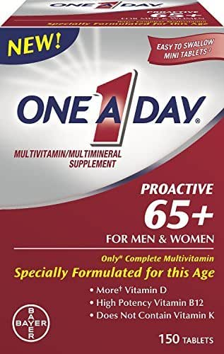 One a Day Proactive 65 Plus Multivitamins for Men and Women, 150 Tablets (Pack of 2) by One-A-Day