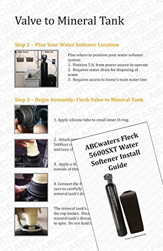 ABCwaters SS8-BLK Space Saver Fleck 5600sxt 48,000 Water Softener with Hardness Test + Install Kit, Black