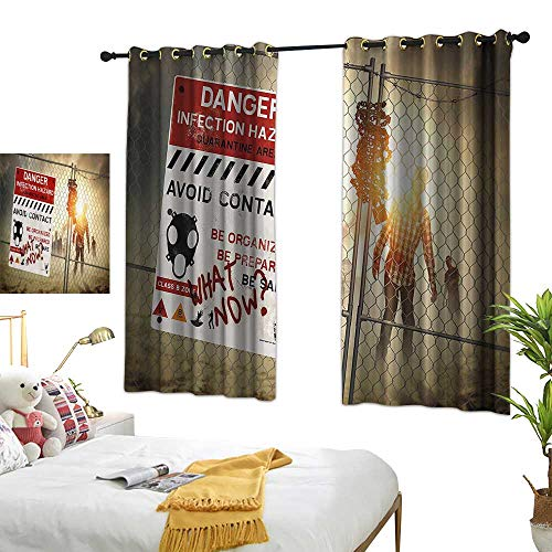 Thermal Insulated Drapes for Kitchen/Bedroom Zombie Decor Dead Man Walking Dark Danger Scary Scene Fiction Halloween Infection Picture Darkening and Thermal Insulating 55