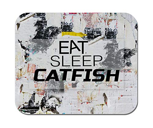 Makoroni - EAT Sleep Catfish Animal - Non-Slip Rubber Mousepad, Gaming Office Mousepad