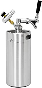 SupYaque Mini Beer Keg Stainless Steel Pressurized Growler Keeps Carbonation for Homebrew,Draft Beer Kegging Equipment Enthusiast (3.6 L/128 oz)