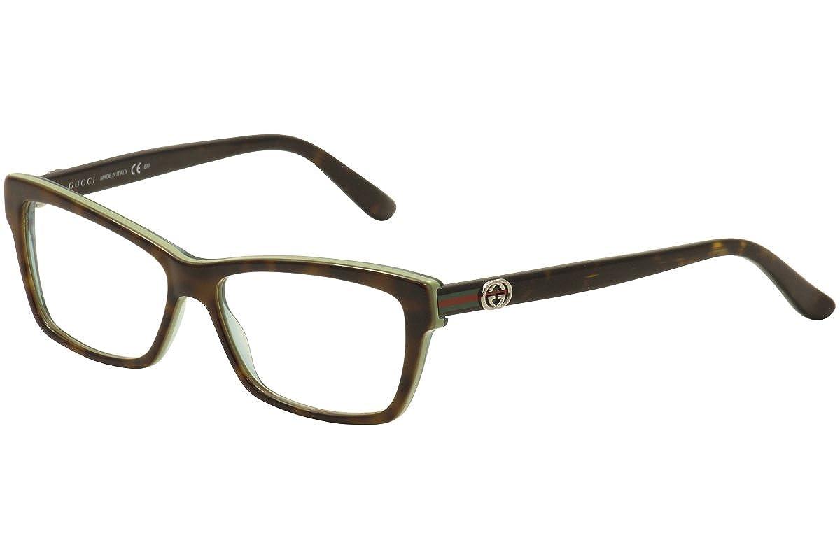 Amazon.com: Gucci Eyeglasses GG 3562 - LA2 Havana and Green - 53mm ...