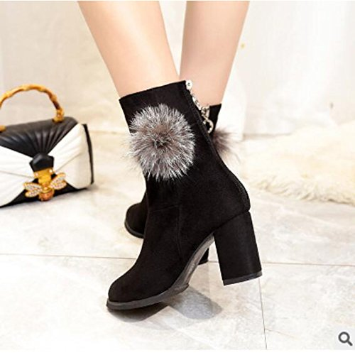 HSXZ Zapatos de Mujer Otoño Invierno PU Confort botas de tacón Chunky Round Toe botines/Botines for casual Gris negro Black