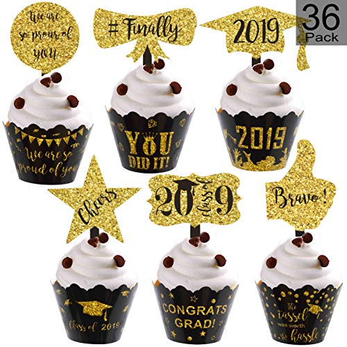 Graduation Cupcake Wrappers and Cupcake Toppers 2019 Graduation Cupcake Decorations for Graduation Supplies Black and Gold - 36 Pack