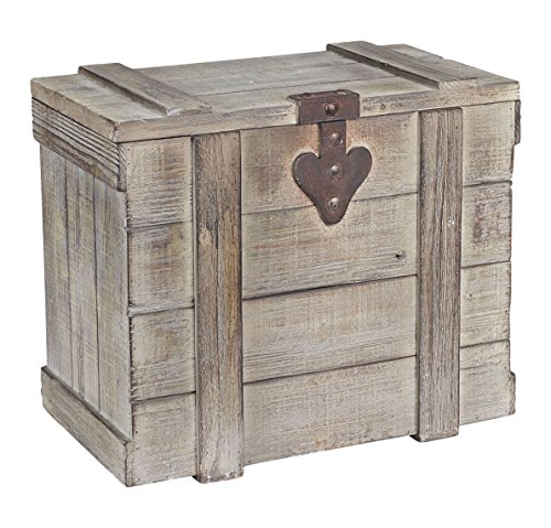 Small Storage Chest (Household Essentials White Washed Rustic Decorative Wooden Trunk, Small)