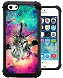 iphone 5c case rubber bumper - CorpCase iPhone 5C Case / iPhone 5C Cover - Hipster Flying Cat Space Galaxy / Hybrid Unique Case With Great Protection