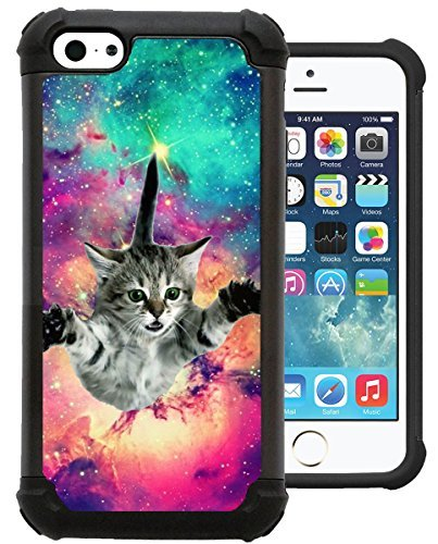 CorpCase iPhone 5C Case / iPhone 5C Cover - Hipster Flying Cat Space Galaxy / Hybrid Unique Case With Great Protection