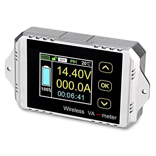 VANJING 100V 100A DC Multifunctional Wireless Bi-directional Voltage Current Power Meter Ammeter Capacity Time Meter with Color LCD Display (DC 0-100V 100A)