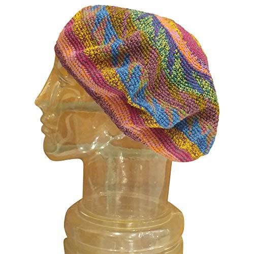 Regular Size Tam Beret Slouchy Cap Hat Crochet Natural Cotton Flowertone Blue Green Star Pattern