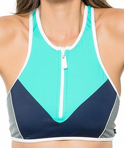 Nautica Women's H2O Active Off The Blocks Soft Cup Zip Front Sport Bra Bikini Top, Aqua, 10