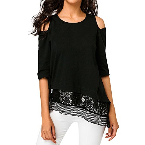 Rambling New Women's Lace Half Sleeve Cold Shoulder Swing Tunic Tops Loose Blouse Shirts