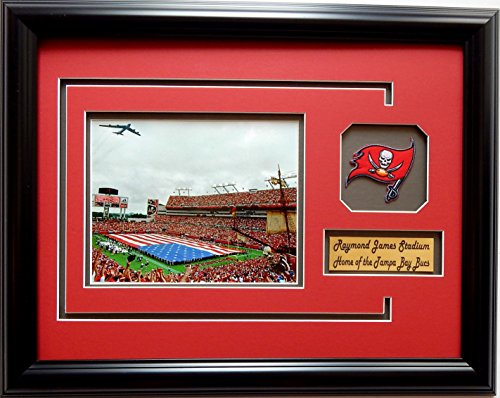 nfl-tampa-bay-buccaneers-raymond-james-stadium-picture-frame-with-team-patch-and-nameplate-medium-bl