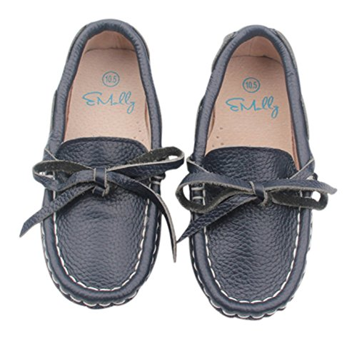 Emolly Leather Loafers for Kids Dress Shoes for Boys and Girls (1M Little Kid/32 EU, Navy Blue)