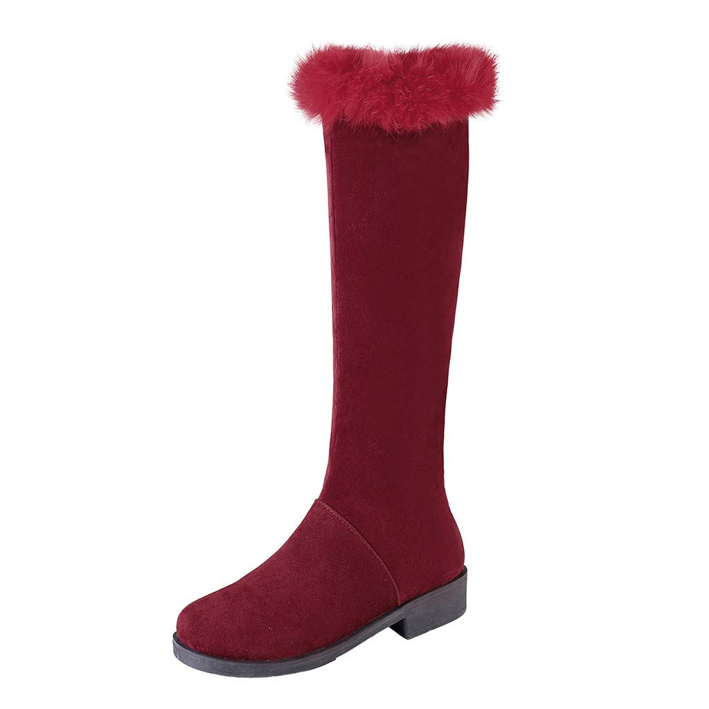 Fheaven Women Fashion Over The Knee Boot Round Toe Zipper Plush Boots Stacked Heels Boots Red by Fheaven-shoes