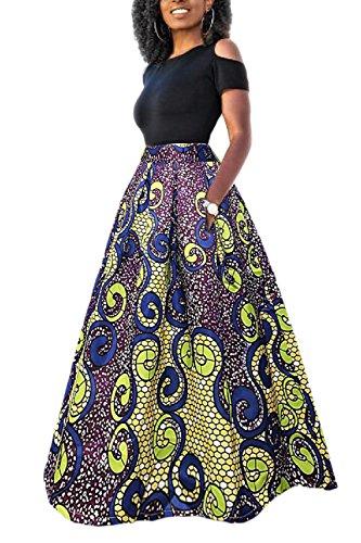 Yacun Las Mujeres Africanas Imprimir Una Linea Larga Coctel Vestido De Dos Piezas Morado