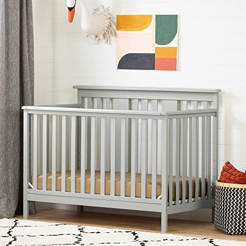 (South Shore 11851 Cotton Candy Baby Crib 4 Heights with Toddler Rail, Soft Gray)