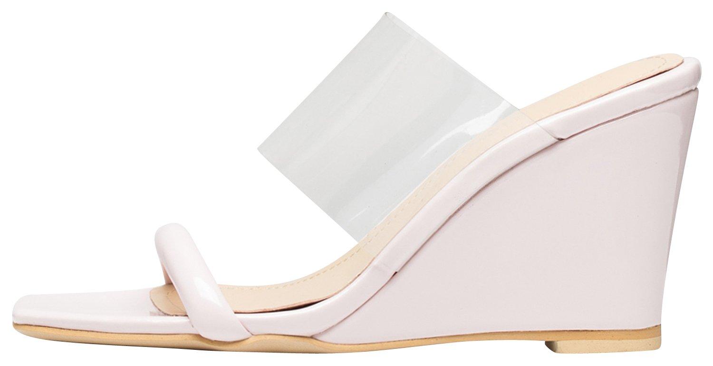 AnnaKastle Womens Transparent Clear Strap Wedge Heel Mule Sandals B07CK1ZQK8 7.5 B(M) US|Light Pink