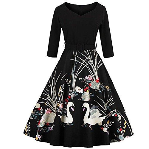 WintCo Robe Femmes Imprimée Aminaux 3/4 Manches Style Rétro Col V Robe A-Line Skirt Plissée Elégante Tutu au Genou Noir