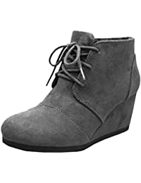 Women's Oxford Round Toe Lace-Up Wrapped Wedge Ankle Bootie