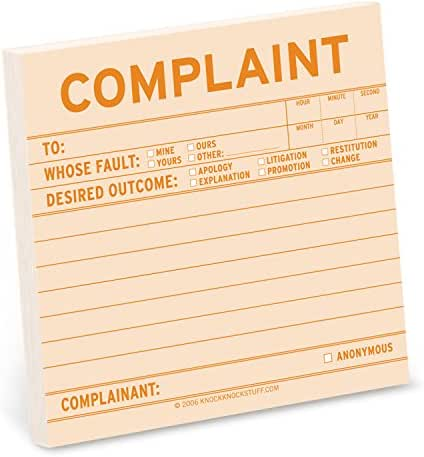 1-Count Knock Knock Complaint Sticky Notes, Office Memo Sticky Notepad, 3 x 3-inches each