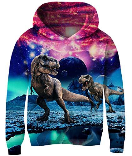 Idgreatim Kids Girls Dinosaur Hoodies 3D Printed Pullover Sweatshirt Hooded Tops with Kangaroo Pockets 11-13 Years