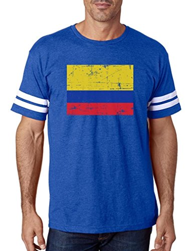 06b471a7461 TeeStars - Vintage Colombia Flag Retro Style Colombian Football Jersey T- Shirt X-Large Blue White