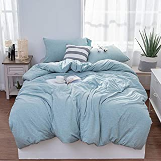 LIFETOWN Jersey Knit Cotton Duvet Cover King, 1 Duvet Cover and 2 Pillowcases, Simple Solid Design, Super Soft and Easy Care (King, Aqua Blue)