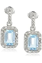Sterling Silver Blue Topaz and Diamond Accent Rectangle Drop Earrings