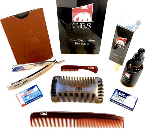 "GBS Men's Guide to Symmetric Beards-Anti Static Sandalwood Beard & Shaping Tool, 1oz Unscented Beard Oil, Mustache and 7"" Dressing Comb, Heavy Duty Shavette, Leather Case+Blades!"
