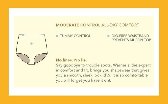 WARNER/'S Coffee Nylon Microfibre Lumière Contrôle Mid Rise Culotte Slips Taille M