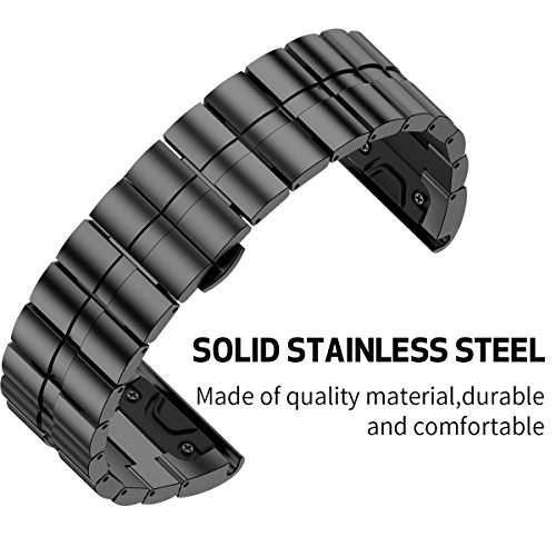ANCOOL Compatible with Fenix 6X Metal Bands Stainless Steel Replacement Sport Bands Replacement for Fenix 3/Fenix 6X/Fenix 5X/Fenix 5X Plus Smartwatch (Black)
