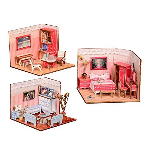 - NATFUR 1/24 Wooden DIY House Kit with Furniture - Living Room, Study Room, Bedroom