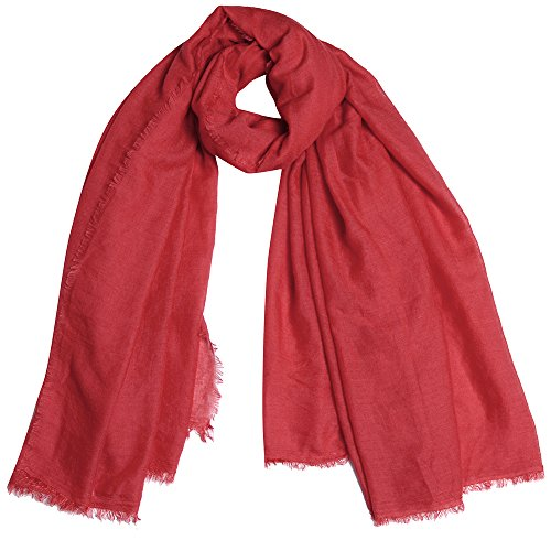 QBSM Womens Red Soft Large Scarfs Crinkle Head Hijab Solid Cotton Light Weight Sheer Holiday Shawls Wraps Cover Up for (Crinkle Cover Up)