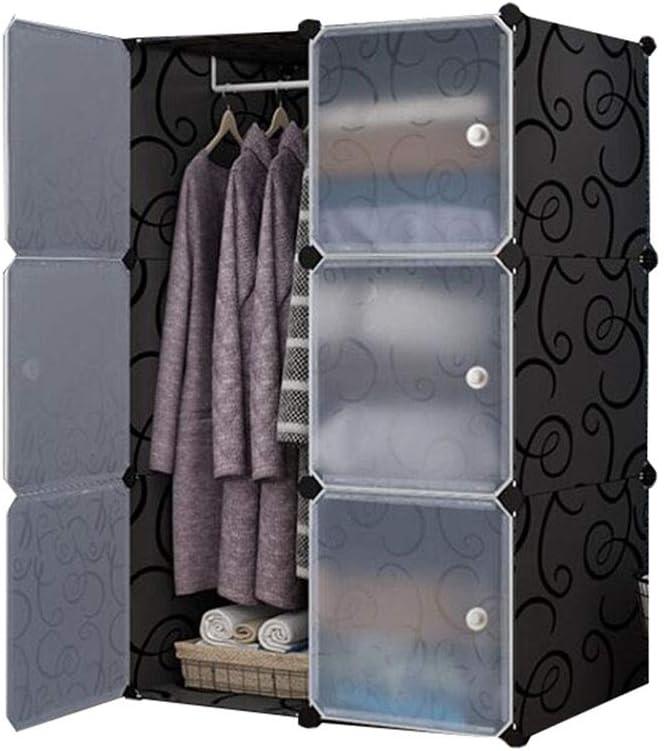Yuan Ou Armario armarios Tela Multiusos roperos de Dormitorio armarios Dormitorio Plástico Armarios De Ropa Organizador Dormitorio Muebles como se Muestra-1 6 Puerta con 1 Percha