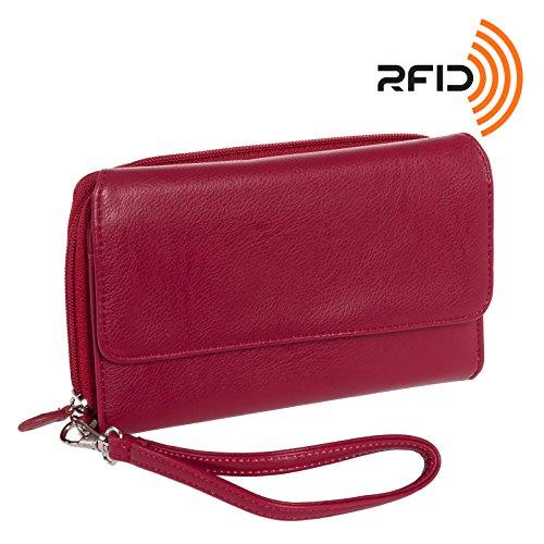 MUNDI Big Fat Womens RFID Blocking Wallet Clutch Organizer Removable Wristle (Big Zip Wallet)