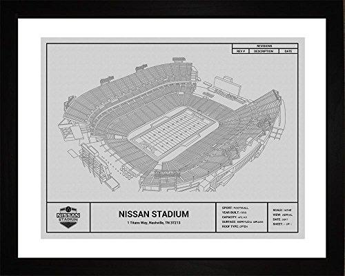 (Tennessee Titans Nissan Stadium Framed Blueprint Wall Art)