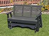 5FT-DARK GRAY-POLY LUMBER ROLL BACK Porch GLIDER Heavy Duty EVERLASTING PolyTuf HDPE - MADE IN USA - AMISH CRAFTED