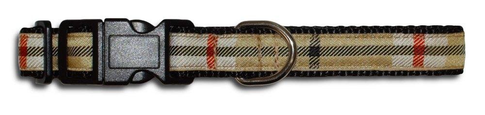 XS 8.5\ BESSIE AND BARNIE Luxury Nylon Tan Plaid Dog Pet Durable Adjustable Collar (Multiple Sizes)
