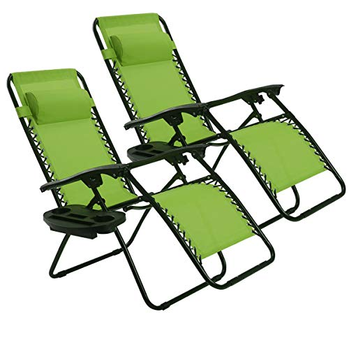 Folding Green Chairs Outdoor - Goplus Zero Gravity Chair Set 2 Pack Adjustable Folding Lounge Recliners for Patio Outdoor Yard Beach Pool w/Cup Holder, 300-lb Weight Capacity (Green)