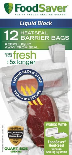 FoodSaver 1-Quart Liquid Block Heat-Seal Bags, 12 Count ()