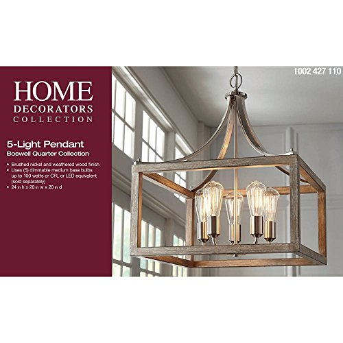 Home Decorators Collection Boswell Quarter Collection 5-Light Brushed Nickel Pendant with Painted Weathered Gray Wood Accents ()
