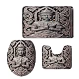 Toilet Carpet Floor mat,Asian Decor,Antique Sculpture in Traditional Thai Art Swirling Floral Patterns Carving Japanese Decor,Bronze,3 Piece Shower Mat Set